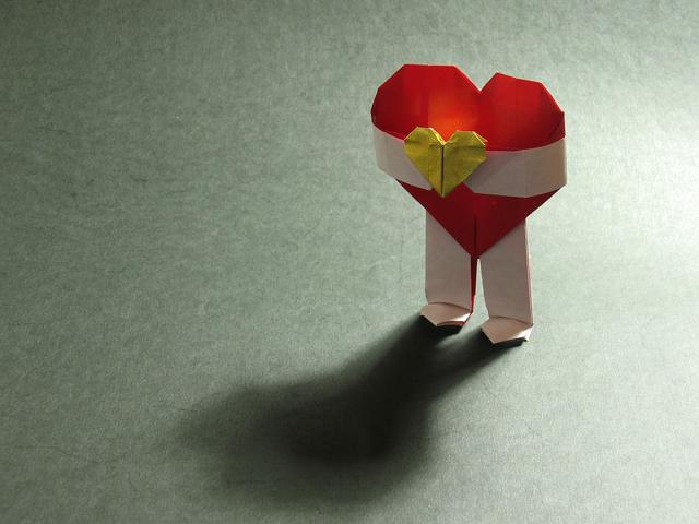 Оригами открытка на день валентина, анимационные