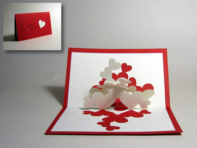 Kirigami u0026quot;Pile of Heartsu0026quot; Pop Up Card : Happy Folding