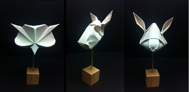 Owl mask, horse mask and rabbit mask designed and folded by Beth Johnson
